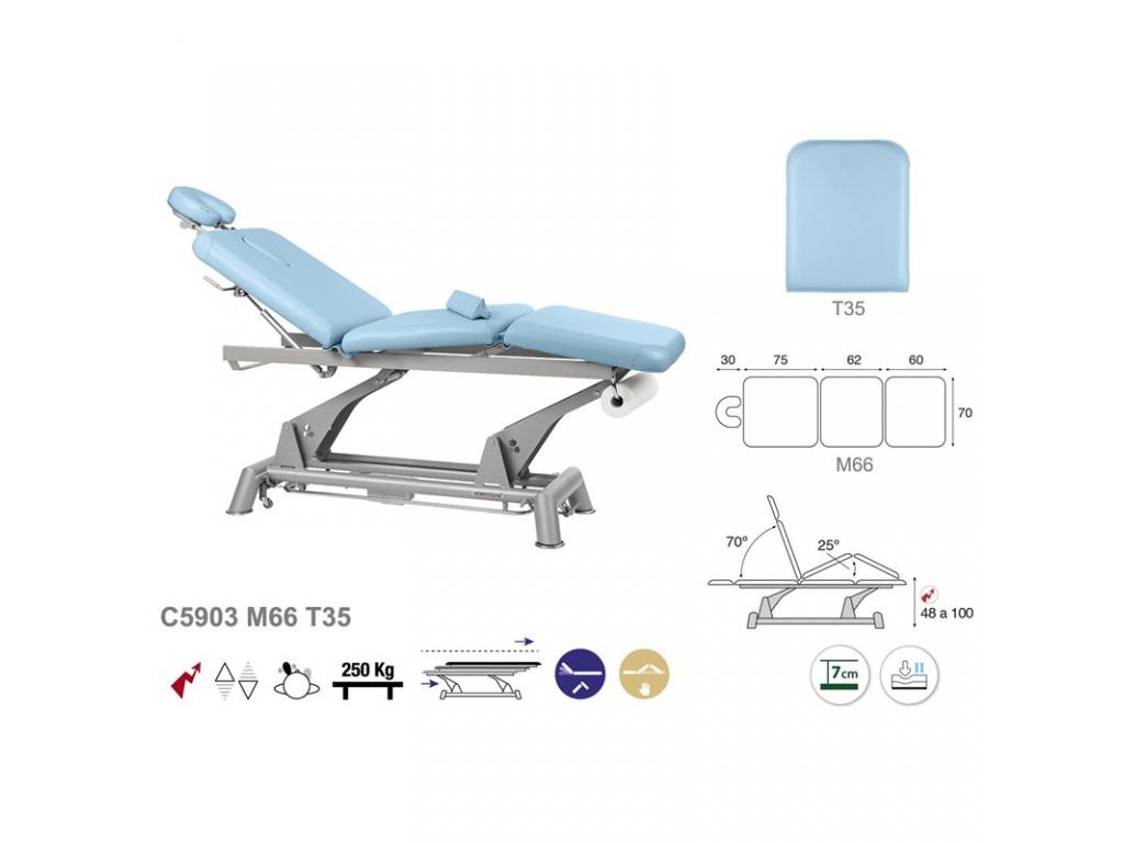 table de massage lectrique en 3 plans ecopostural c5903. Black Bedroom Furniture Sets. Home Design Ideas